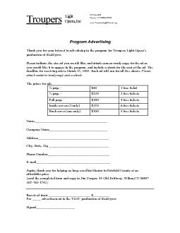 Program Advertising  Thank you for your interest in advertising in the
