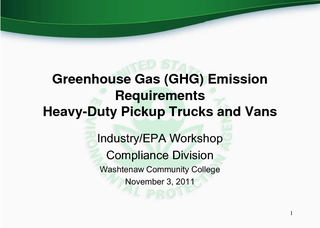 Greenhouse Gas (GHG) Emission Requirements  HeavyDuty Pickup Trucks an