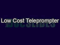 Low Cost Teleprompter
