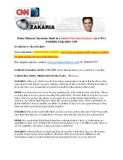 Prime Minister Narendra Modi in a Global Television Exclusive RQV FAREED ZAKARIA GPS INTERVIEW TRANSCRIPT Note to the Editor MANDATORY CREDIT   Fareed Zakaria GPS PXVWEHFUHGLWHG fo using all and any PDF document - DocSlides