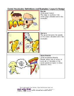 Comic V cabulary Definitions and Examples Layout  Design Border AKA panel frame The edge or outline of the comic page shaded red in this example PDF document - DocSlides