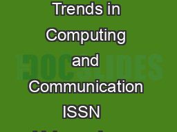 International Journal on Recent and Innovation Trends in Computing and Communication ISSN   Volume  Issue      IJRITCC  MAR  Available  httpwww PowerPoint PPT Presentation