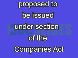 Order proposed to be issued under section  of the Companies Act PDF document - DocSlides
