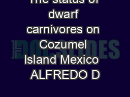 The status of dwarf carnivores on Cozumel Island Mexico  ALFREDO D PDF document - DocSlides