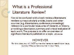 What is a Professional Literature Review?