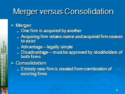 0 Merger versus Consolidation