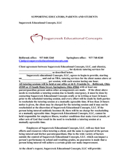 Client agreement between Sugarcreek Educational Concepts, LLC, and cli