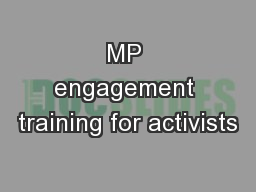 MP engagement training for activists