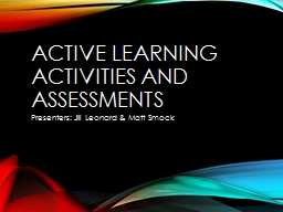 Active Learning activities and assessments PowerPoint PPT Presentation