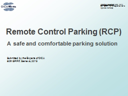 Remote Control Parking (RCP) PowerPoint PPT Presentation
