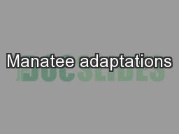 Manatee adaptations PowerPoint PPT Presentation