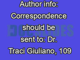 Author info: Correspondence should be sent to: Dr. Traci Giuliano, 109