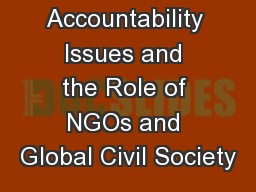UN Accountability Issues and the Role of NGOs and Global Civil Society