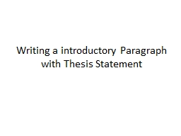 Writing a introductory Paragraph with