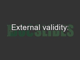 External validity: