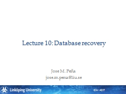 Lecture 10: Database recovery