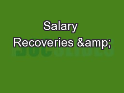 Salary Recoveries & PowerPoint PPT Presentation