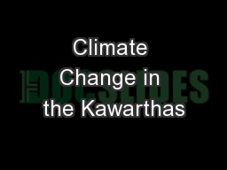 Climate Change in the Kawarthas