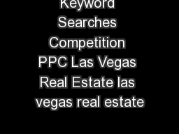 Keyword Searches Competition PPC Las Vegas Real Estate las vegas real estate