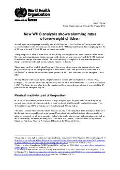 Press release Copenhagen and Athens  February  New WHO analysis shows alarming r