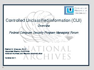 Controlled Unclassified Information (CUI)OverviewFederal Computer Secu