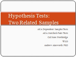 Hypothesis Tests: