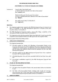 UNCOMPLETED WORKS DEED POLL (FOR WORKS TO A VALUE OF $200,000.00 OR UN