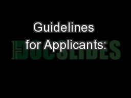Guidelines for Applicants: