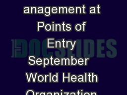 WHO Interim Guidance for Ebola vent anagement at Points of Entry September   World Health Organization WHO EVDGuidancePoE