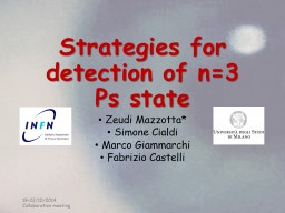 Strategies for the detection PowerPoint PPT Presentation