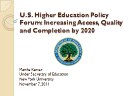 U.S. Higher Education Policy Forum: