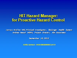HIT Hazard Manager:
