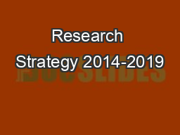 Research Strategy 2014-2019