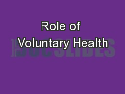 Role of Voluntary Health