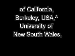 of California, Berkeley, USA,^ University of New South Wales,