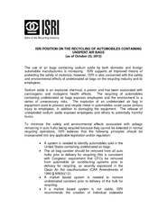 ISRI POSITION ON THE RECYCLING OF AUTOMOBILES CONTAINING