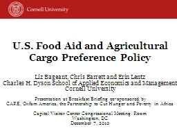 U.S. Food Aid and Agricultural  Cargo Preference Policy