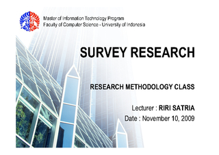 Faculty of Computer Science - University of Indonesia SURVEY RESEARCH