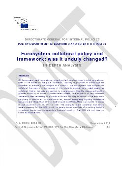 Eurosystem collateral framework and policy: was it unduly changed? ...