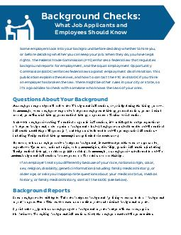 Background Checks What Job Applicants and Employees Should Know Some employers look into your background before deciding whether to hire you or before deciding whether you can keep your job PDF document - DocSlides
