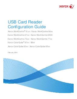 USB Card Reader Configuration Guide Xerox WorkCentre xx  Xerox WorkCentre xx Xerox WorkCentre xx  Xerox WorkCentre  Xerox WorkCentre xx  Xerox WorkCentre xx Xerox ColorQube xx  xx Xerox ColorQube xx