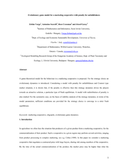 Evolutionary game model for a marketing cooperative with penalty for u