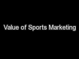 Value of Sports Marketing