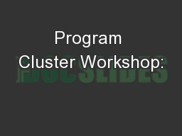 Program Cluster Workshop: