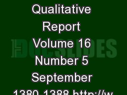 The Qualitative Report Volume 16 Number 5 September 1380-1388 http://w