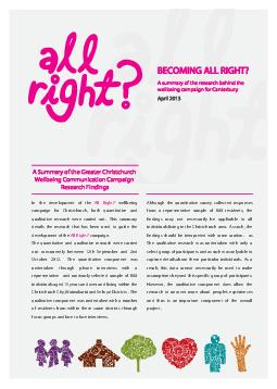 BECOMING ALL RIGHT A summary of the research behind the wellbeing campaign for C PDF document - DocSlides