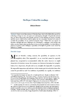 On Hope: CriticSome recent discussions of Christian hope refer to the