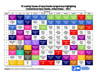10 Leading Causes of Injury Deaths by Age Group Highlighting
