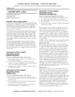DIABLO VALLEY COLLEGE CATALOG  PROGRAM AND COURSE DESCRIPTIONS DIABLO VALLEY COLLEGE CATALOG  any updates to this document can be found in the addendum at www