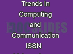 International Journal on Recent and Innovation Trends in Computing and Communication ISSN   Volume Issue      IJRITCC  November   Available  httpwww PowerPoint PPT Presentation
